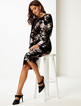 Floral Print Long Sleeve Bodycon Dress