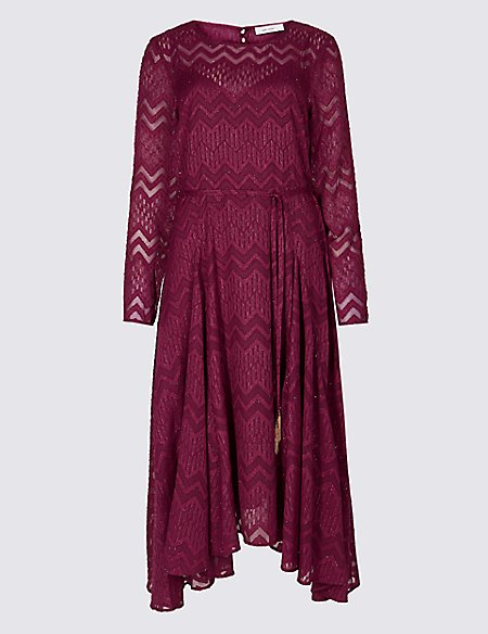 Textured Long Sleeve Tea Midi Dress