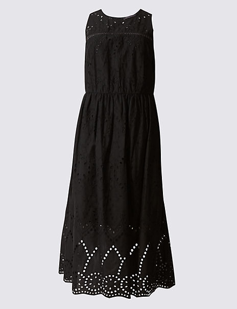 Pure Cotton Broderie Hem Shift Midi Dress