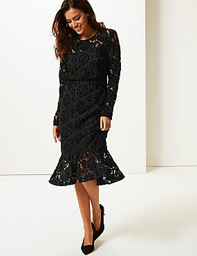 Lace Long Sleeve Bodycon Midi Dress