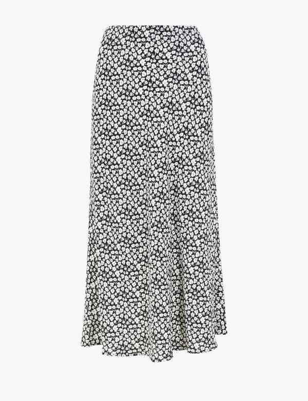 NEW EX PER UNA M/&S Size 10 Pure Cotton Blue Turquoise Printed Midi Skirt Holiday