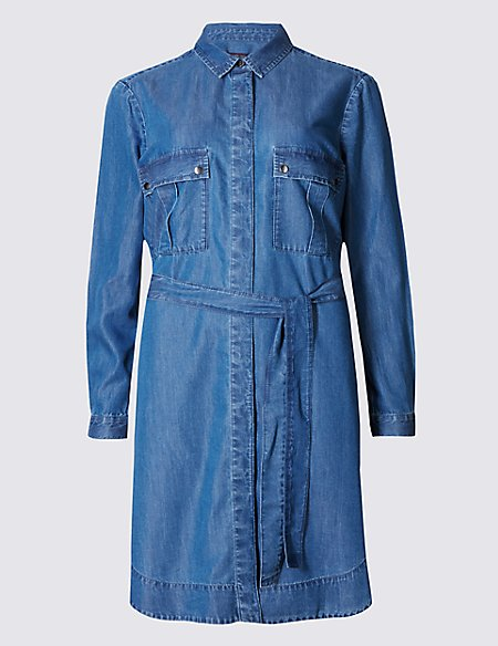 Denim Long Sleeve Shirt Dress with Belt