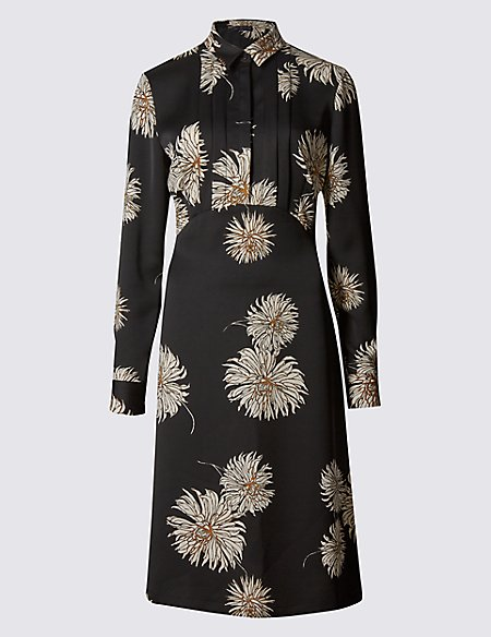 Floral Print Pleated Front Shirt Dress