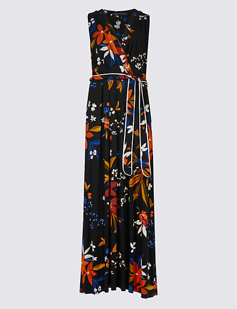 Floral Print Flare Maxi Dress with Belt