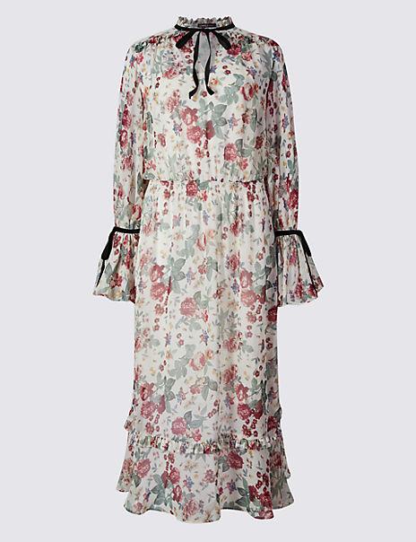 Floral Print Flared Tie Detail Maxi Dress