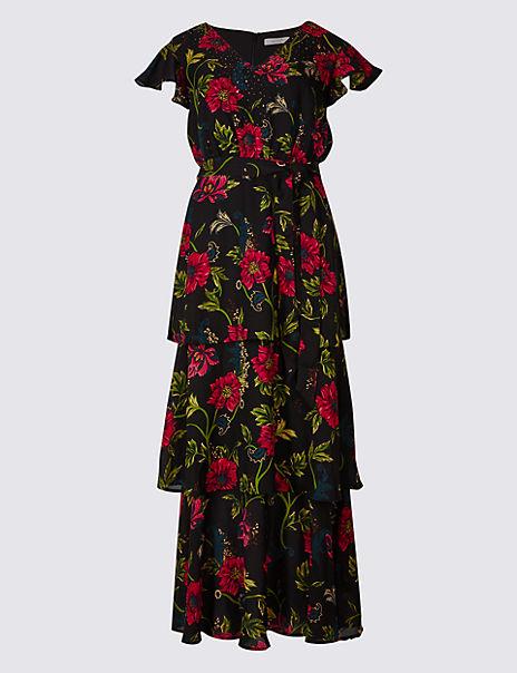 Embellished Floral Print Tiered Maxi Dress