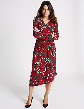Chain Print Knot Front Bodycon Midi Dress