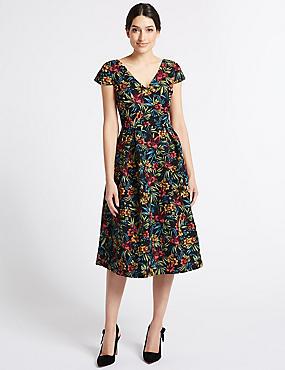 Jacquard Print Skater Midi Dress
