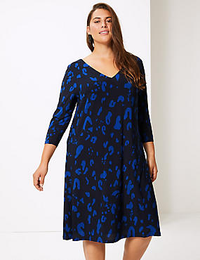 CURVE Printed 3/4 Sleeve Swing Dress , BLUE MIX, catlanding