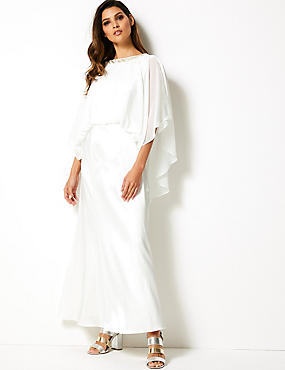 861f7b81a5ddd4 3 4 Sleeve Maxi Waisted Dress
