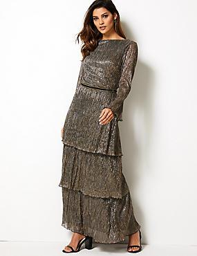 641d362ca624 Textured Maxi Tiered Waisted Dress