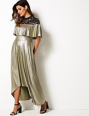 4558fdde0bdcc2 Getailleerde maxi-jurk met structuurdessin