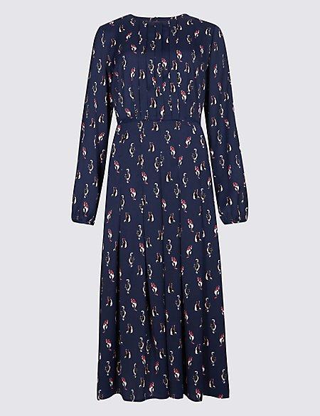 Satin Cat Print Long Sleeve Swing Dress