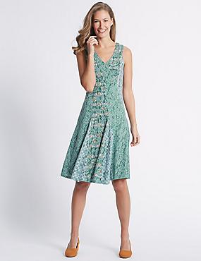 Cotton Rich Burnout Print Dress, MINT MIX, catlanding