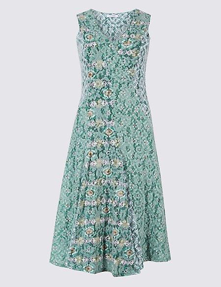 Cotton Rich Burnout Print Dress   Classic   M&S