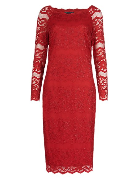 Metallic Lace Shift Dress ONLINE ONLY