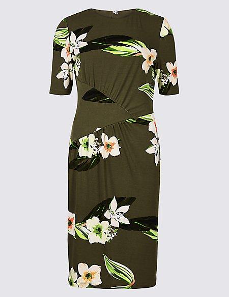 Floral Print Jersey Bodycon Dress