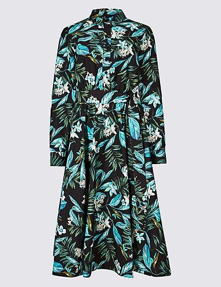 Cotton Blend Floral Print Shirt Dress