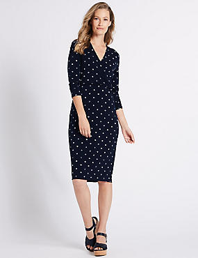 Spotted Jersey 3/4 Sleeve Bodycon Dress