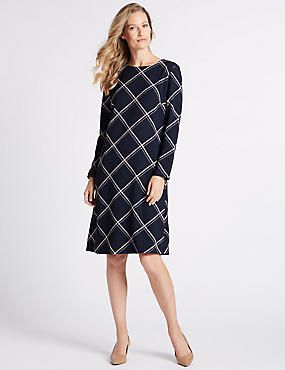 Checked Long Sleeve Tunic Midi Dress