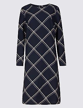 Checked Long Sleeve Tunic Midi Dress