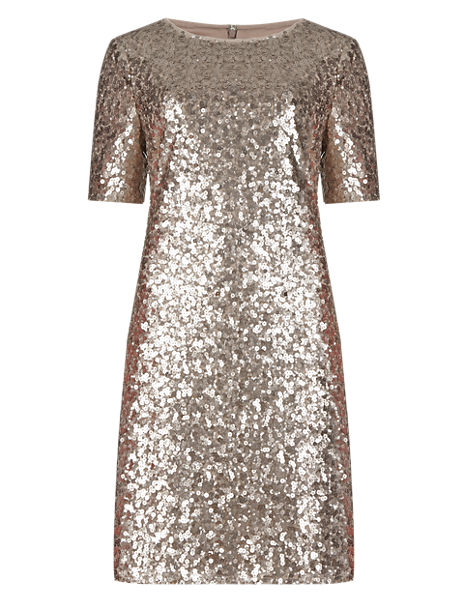 All-Over Sequin Embellished Tunic Dress
