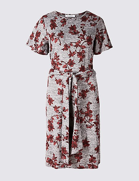 Floral Print Round Neck Tunic Dress
