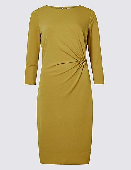 Twisted Drape 3/4 Sleeve Shift Dress