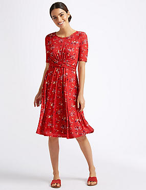 Floral Print Twist Detail Swing Dress