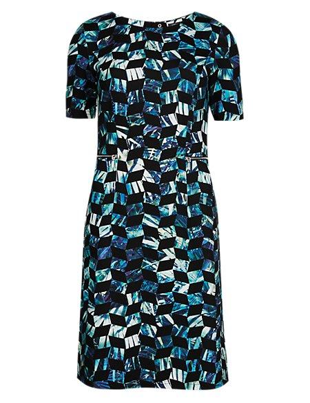 Prism Print Scuba A-Line Shift Dress