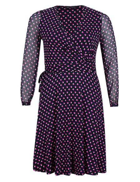 PLUS Spotted Wrap Dress