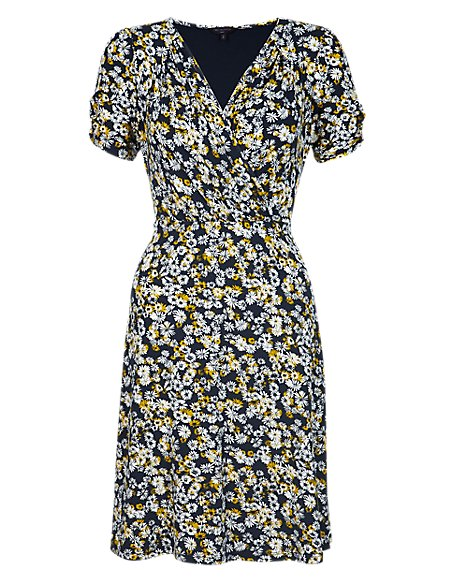 PETITE Daisy Print Wrap Dress