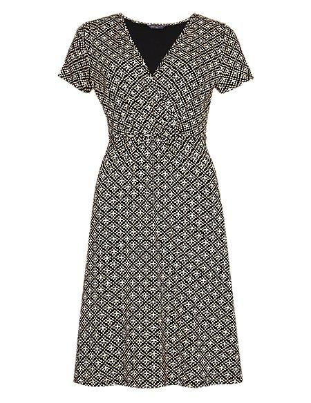 PETITE Geometric Print Wrap Dress