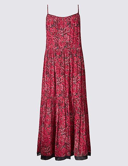 Modal Blend Paisley Print Maxi Slip Dress
