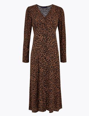 Printed Puff Sleeve Midi Tea Dress