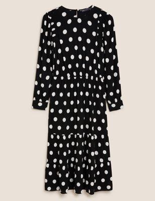 Polka Dot Round Neck Midi Waisted Dress