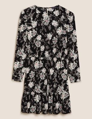 Floral Round Neck Mini Waisted Dress