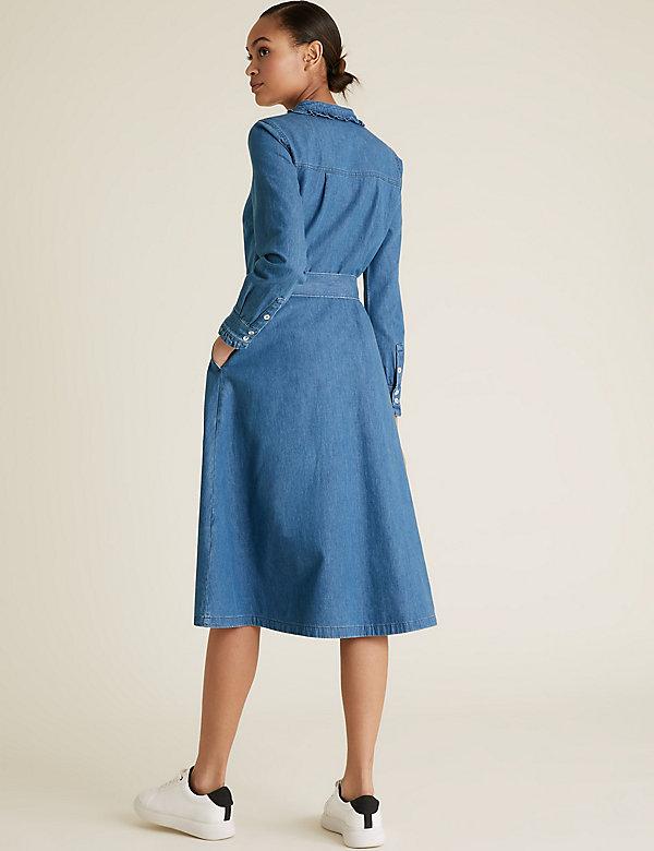 Denim Belted Midi Shirt Dress