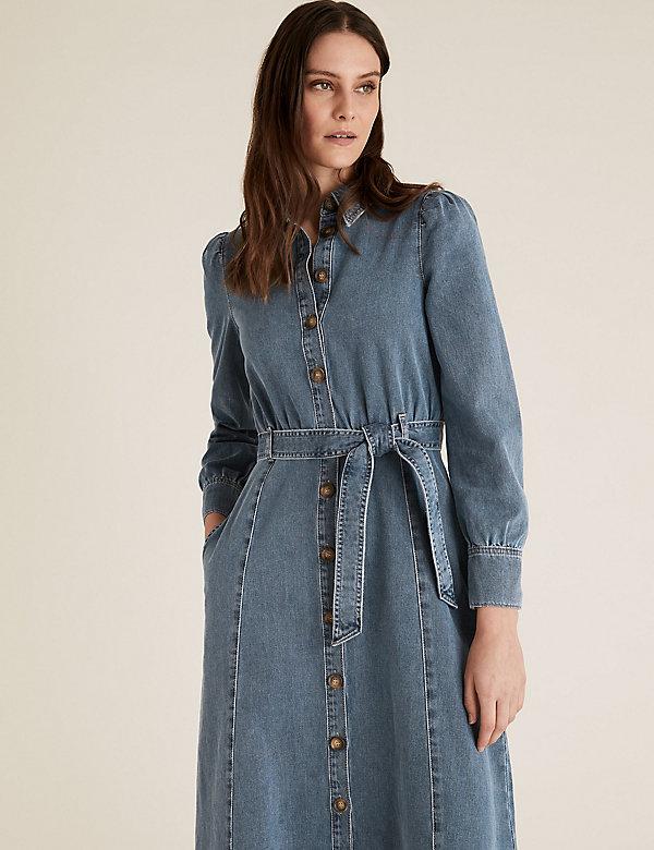 Denim Puff Sleeve Belted Midi Shirt Dress