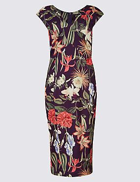 Floral Print Asymmetric Bodycon Midi Dress