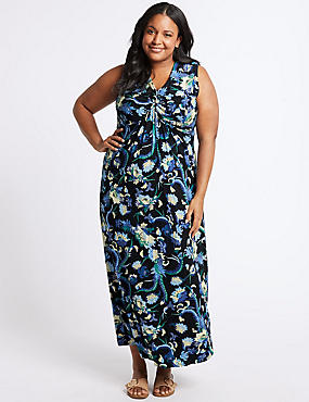 CURVE Floral Print Slip Maxi Dress