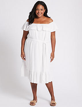 CURVE Linen Blend Bardot Midi Dress
