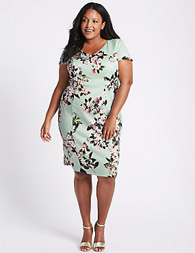 CURVE Floral Print Bodycon Midi Dress