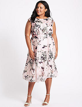 CURVE Floral Print Cap Sleeve Skater Dress