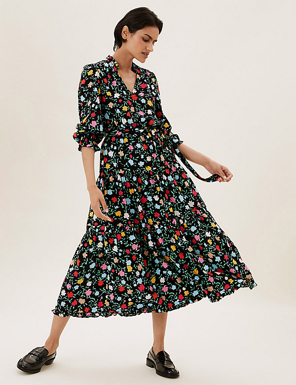 Floral Tie Front Midi Tiered Dress