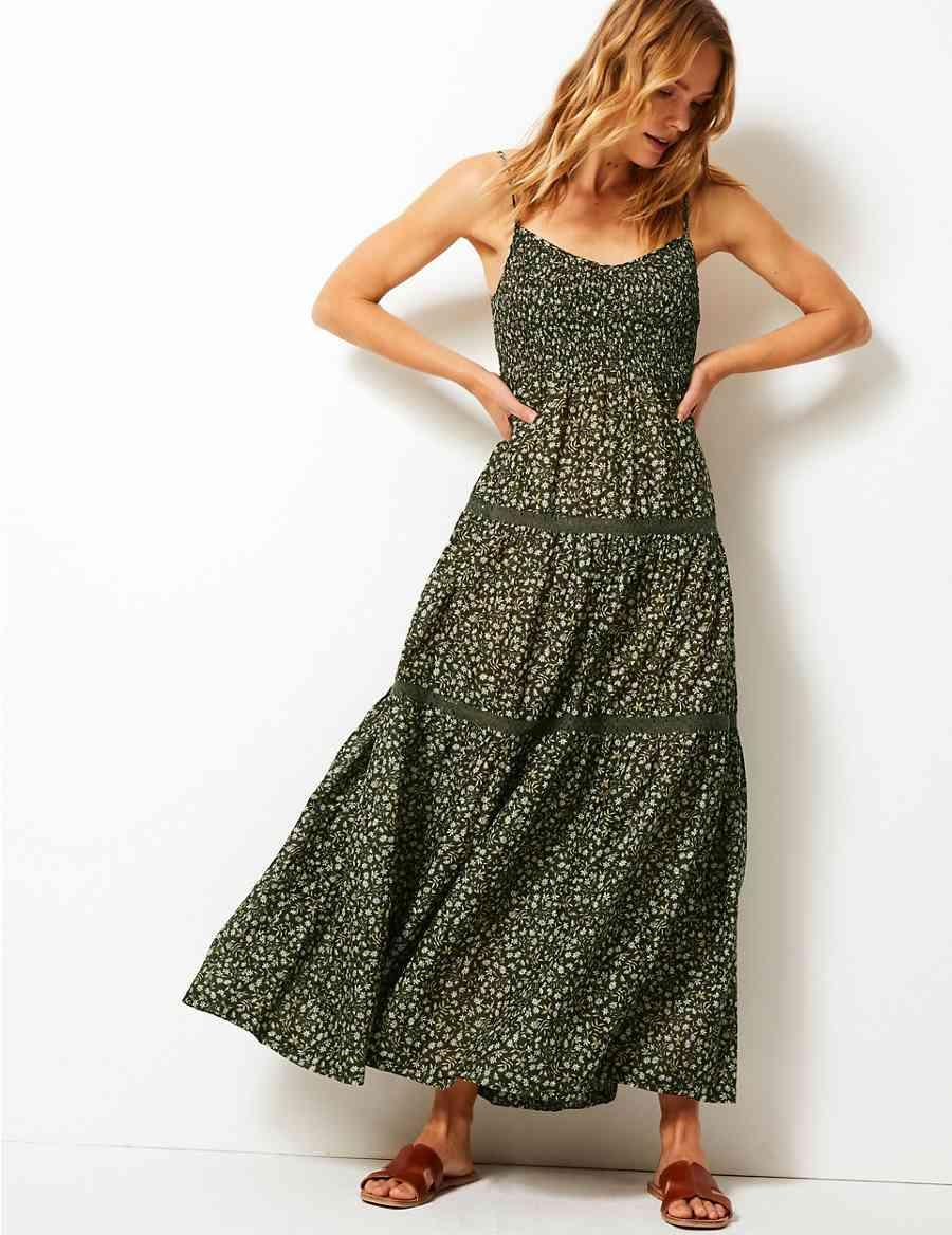 f744391346 Pure Cotton Floral Print Swing Midi Dress