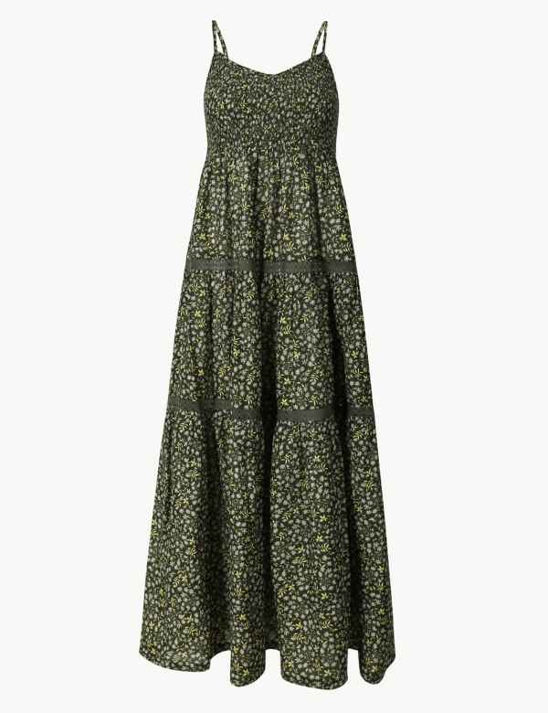 9922c304f488 Pure Cotton Floral Print Swing Midi Dress