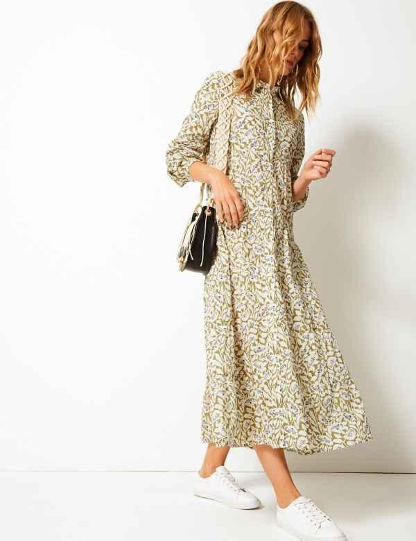 6abf5b4c76a Pure Cotton Tiered Shirt Maxi Dress