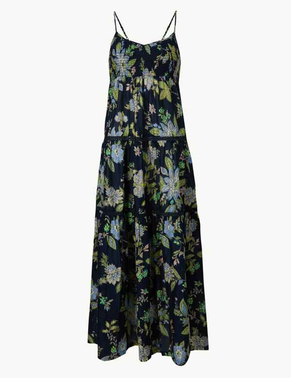 c09b8727657b00 Pure Cotton Floral Print Slip Midi Dress