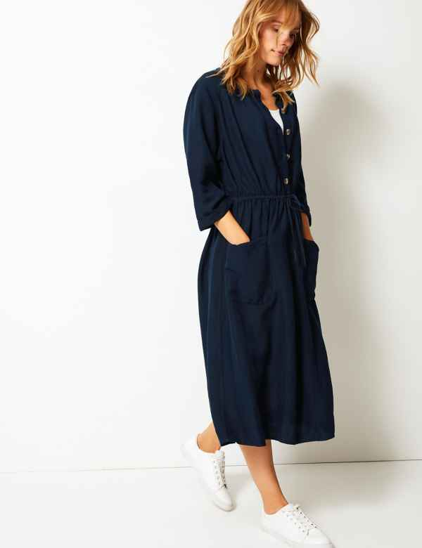 4e6c801c87b Linen Blend 3 4 Sleeve Waisted Midi Dress